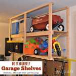Great idea for ceiling mounted shelves in the garage for better seasonal storage!