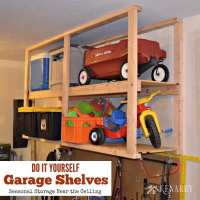 DIY Garage Storage: Ceiling Mounted Shelves + Giveaway