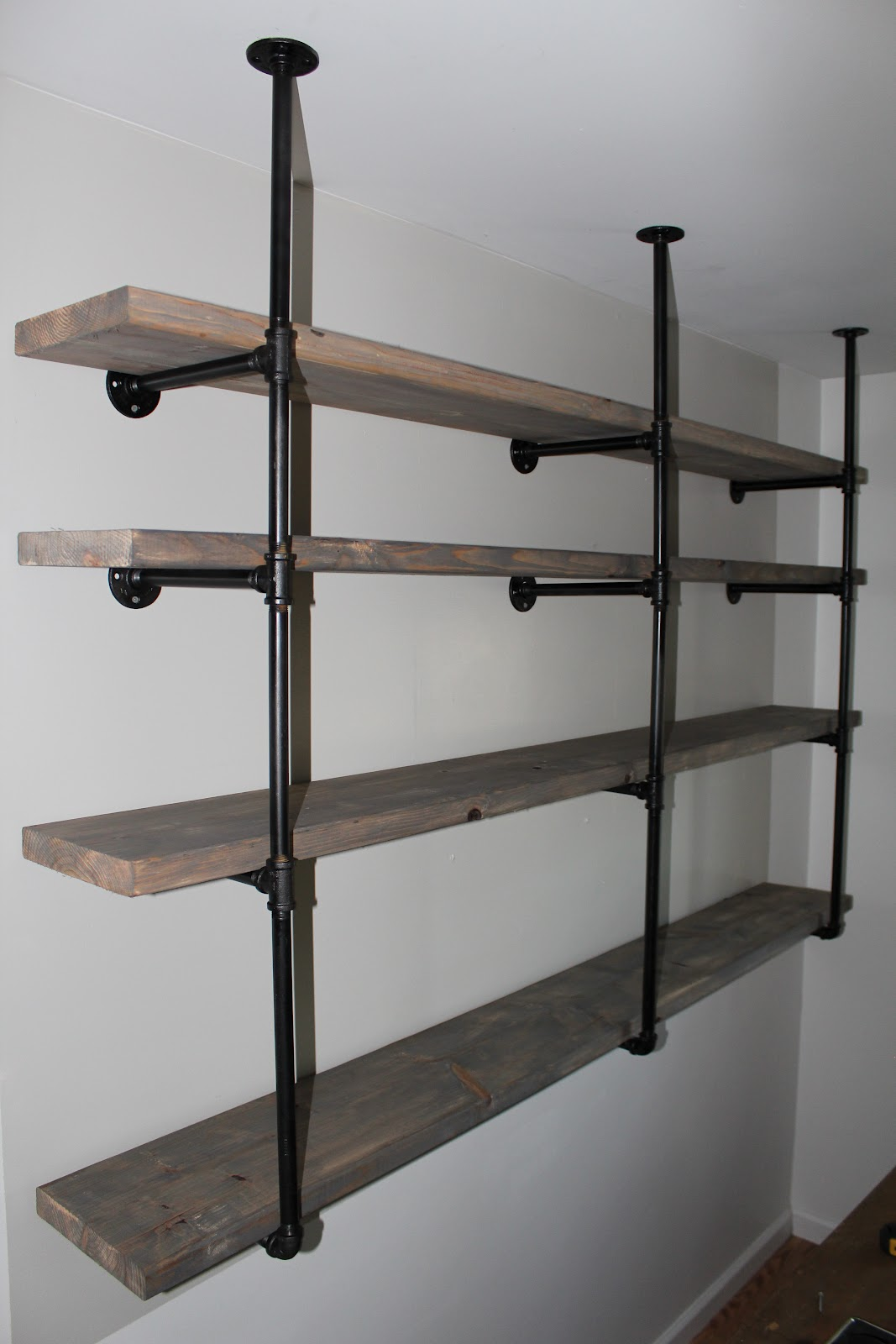 Bookshelves Using Pipes Reclaimed Wood Kitchen Shelves - Viewing Gallery