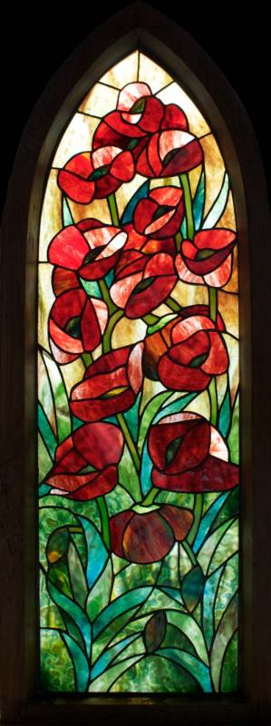 Poppy Framed Stained Glass Panel © David Kennedy 2011