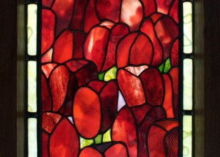 Deep-red Tulips Framed Panel