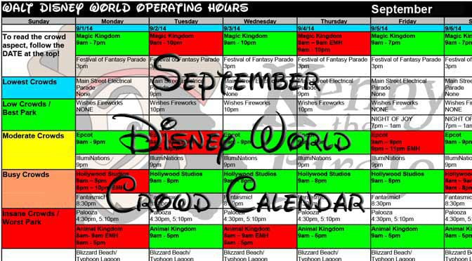 September 2016 Disney World Crowd Calendar Park Hours