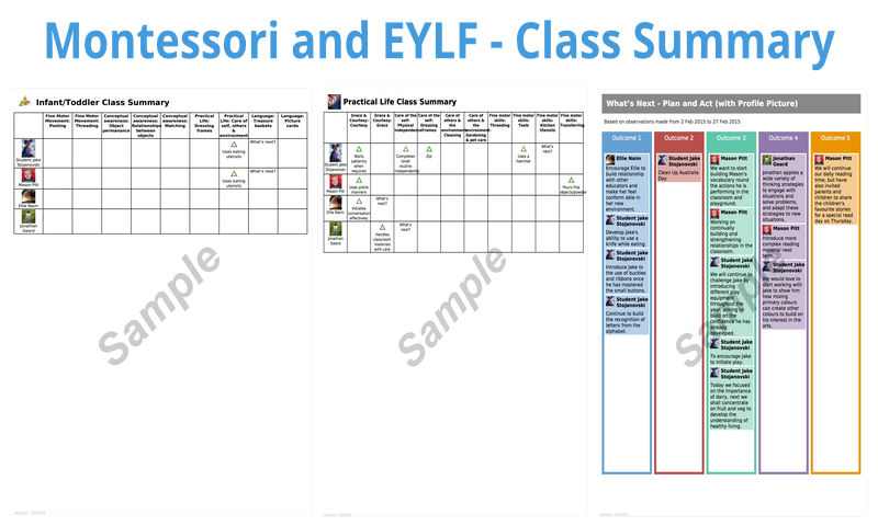 Montessori and EYLF - Class Summary