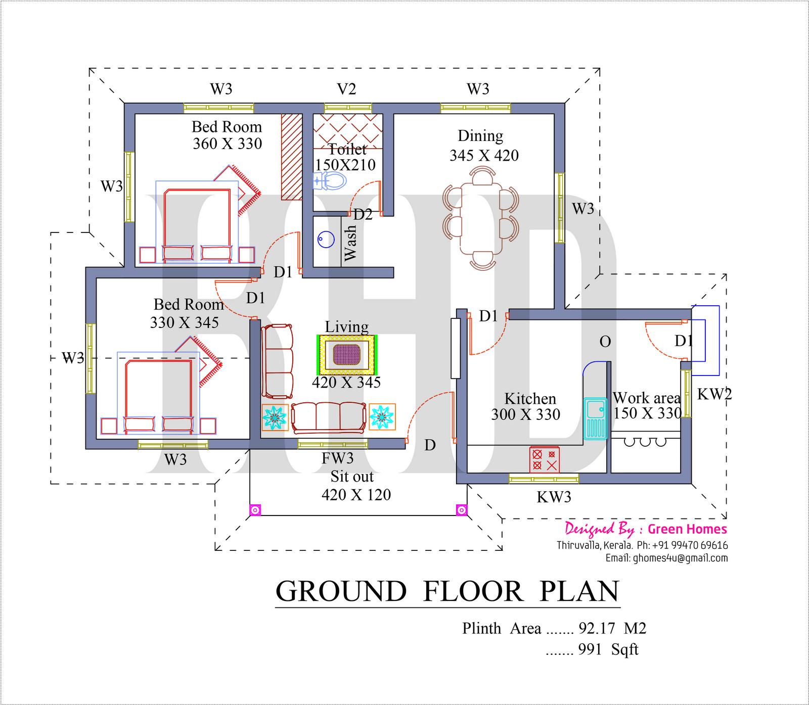 Free Estimates Blueprints Estimates Home Plans Ideas Picture Kerala House Plan For 991 Sq Ft House