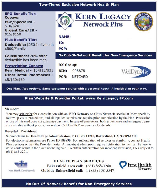 For Providers - Sample ID Cards Kern Legacy Network Plus