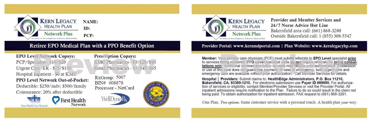 For Providers - Sample ID Cards Kern Legacy Network Plus - sample cards