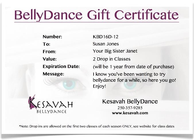 Gift Certificates - Kesavah BellyDance - gift certificate samples