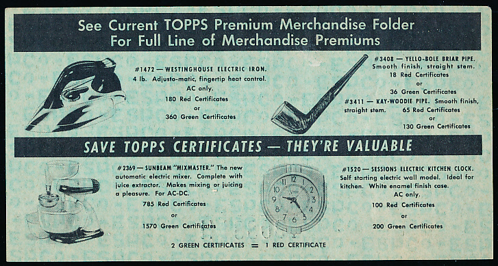 Lot Detail - 1949 Topps Chewing Gum \u201c1/4 Green Premium Merchandise