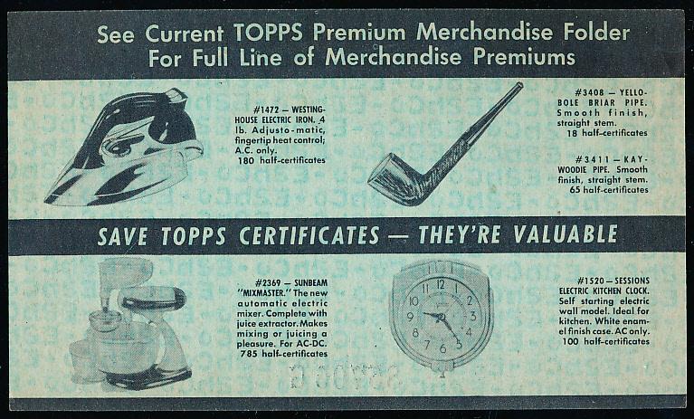 Lot Detail - 1949 Topps Chewing Gum \u201c1/2 Premium Merchandise