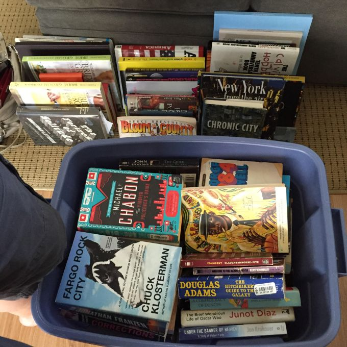 All of my books in a bin: Chabon, Klosterman, Bloom County, et al