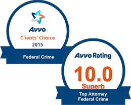 AVVO 10.00 Top Attorney federal Crimes & Clients' Choice Federal Crimes 2015