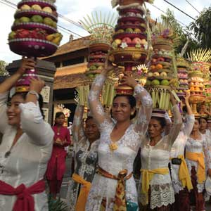 A procession of temple offerings during Galungan