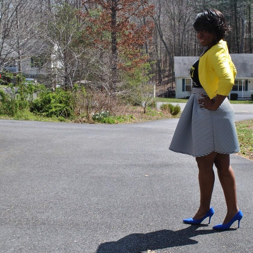 Cropped jacket: Body Central Tee: Own Your Blackness Skirt: Charlotte Russe Shoes: Nine West