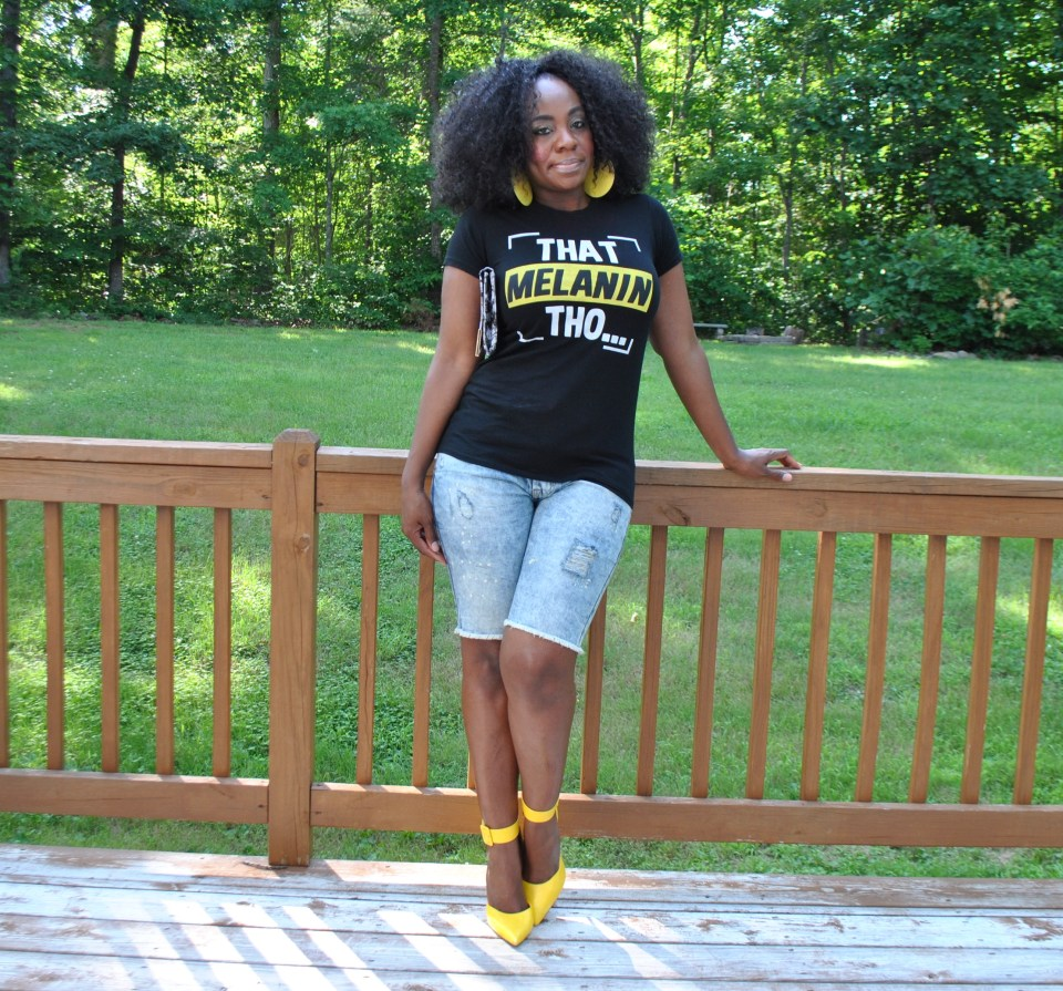 Tee: Aptly this tee is from Own Your Blackness Shorts: JCP Shoes: Lolas Shoetique Clutch: Body Central Earrings: Body Central