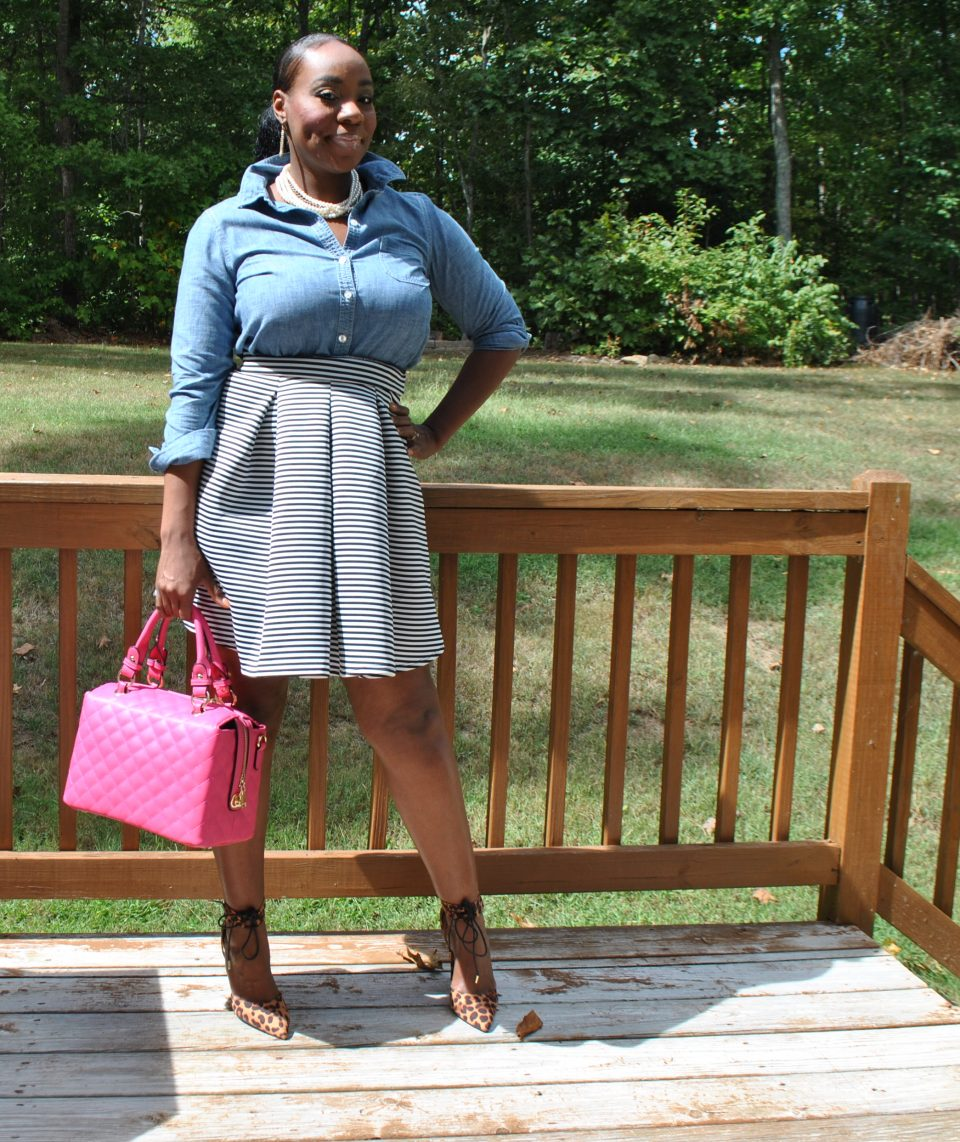 Chambray top: Thrifted Skirt: Charlotte Russe Shoes: Charlotte Russe Bag: Jazzy B's Boutique