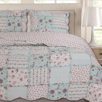 3Pcs Quilted Bedspread Sets Comforter Set Floral Vintage ...