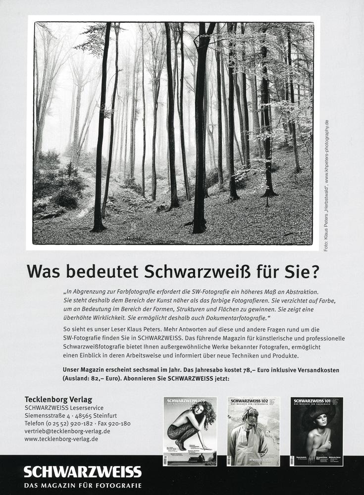 K. H. Peters über SW-Fotografie, veröffentlicht Ende Januar 2015 im Magazin Schwarzweiß-Fotografie.