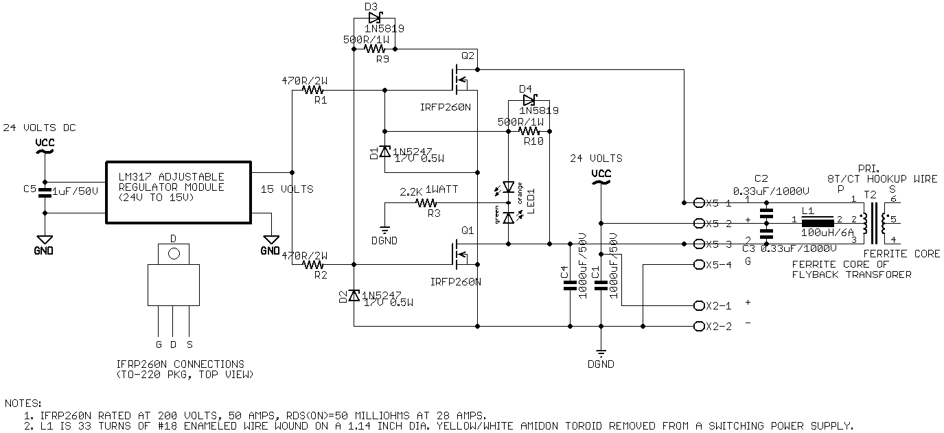 transformer circuit diagram flyback transformer schematic