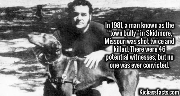 """2466 Ken McElroy-In 1981, a man known as the """"town bully"""" in Skidmore, Missouriwas shot twice and killed. There were 46 potential witnesses, but no one was ever convicted."""