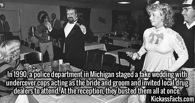 2497 Wedding Sting-In 1990, a police department in Michigan staged a fake wedding with undercover cops acting as the bride and groom and invited local drug dealers to attend. At the reception, they busted them all at once.