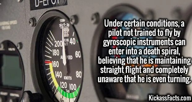 4000 Spatial disorientation-Under certain conditions, a pilot not trained to fly by gyroscopic instruments can enter into a death spiral, believing that he is maintaining straight flight and completely unaware that he is even turning.