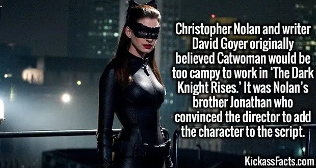 4001 Anne Hathaway-Christopher Nolan and writer David Goyer originally believed Catwoman would be too campy to work in 'The Dark Knight Rises.' It was Nolan's brother Jonathan who convinced the director to add the character to the script.