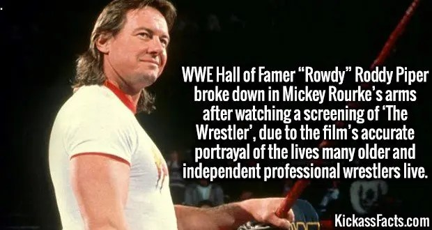 """4216-roddy-piper-WWE Hall of Famer """"Rowdy"""" Roddy Piper broke down in Mickey Rourke's arms after watching a screening of 'The Wrestler', due to the film's accurate portrayal of the lives many older and independent professional wrestlers live."""