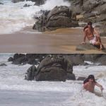 Jenna's friend gets hit by a wave