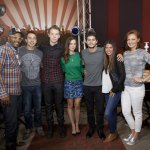 Dylan O'Brien, Kaya Scodelario and Will Poulter with the cast