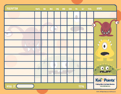 Free Printable Behavior Chart Monster Theme Kid Pointz - printable behavior chart