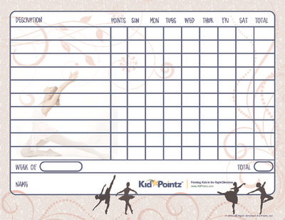 Free Printable Behavior Charts Dance Theme Kid Pointz - printable behavior chart