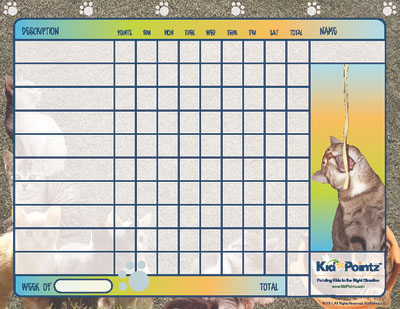 Cat Theme Printable Behavior Chart for Kids - printable behavior chart