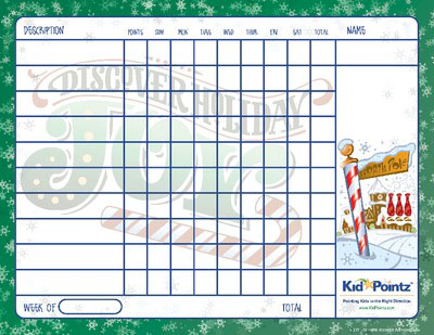 Kids Printable Chart Chirstmas Theme Kid Pointz - progress chart for kids