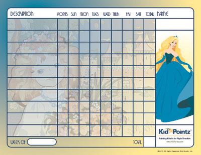 Behavior Chart Princess Theme Kid Pointz - progress chart for kids