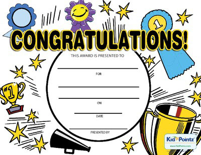 Free Congratulations Certificates for Kids Kid Pointz - congratulations certificate
