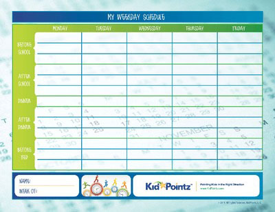 Kids Daily Routine Charts for Week Kid Pointz