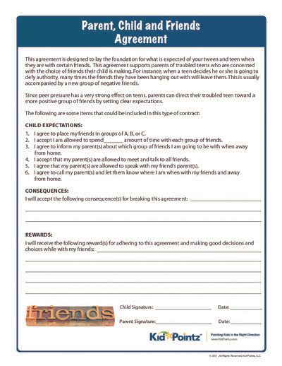 Sample Behavior Contract Between Parent And Teenager | Sample