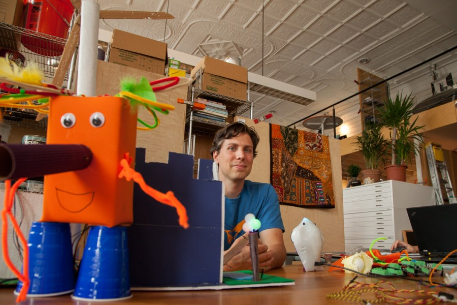 Tom Lauwers in his Birdbrain office: helping and using the Kids+Creativity network for the benefit of many. Photo by Peter Leeman.