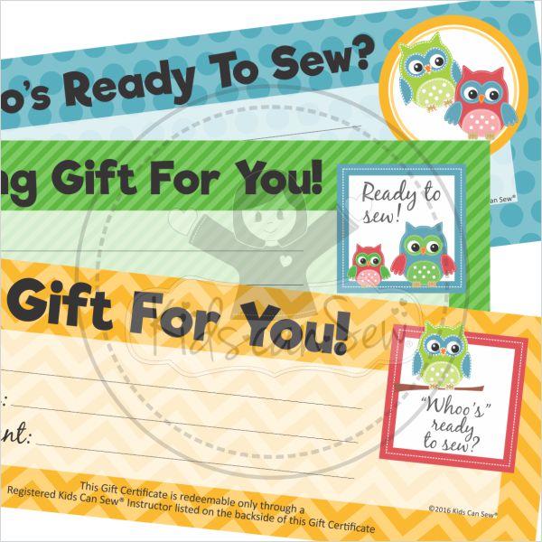 Student Gift Certificates \u2013 Kids Can Sew®