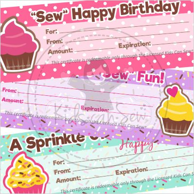 Student Gift Certificates Birthday Theme Kids Can Sew®