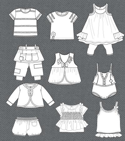 Set of isolated fashion flats for baby girls Kidsfashionvector