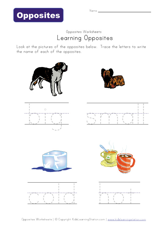 Free Worksheets : opposites words for kids Opposites Words For in ...