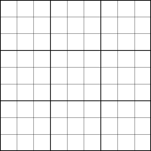 Printable 9x9 Sudoku Puzzle Template