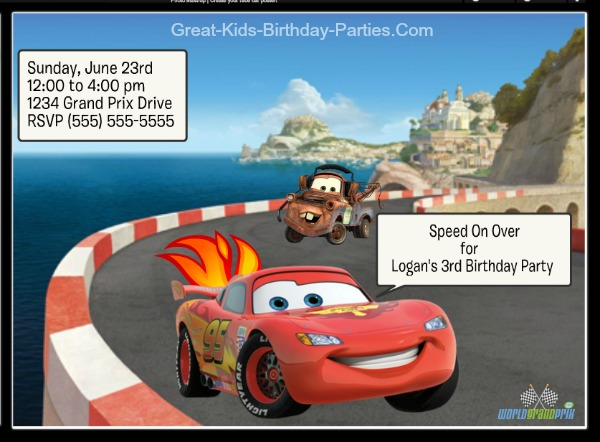Cars Invitations