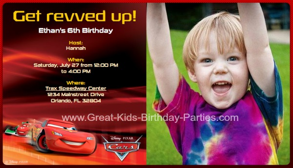 Disney Cars Birthday Party - online birthday invitation maker for free
