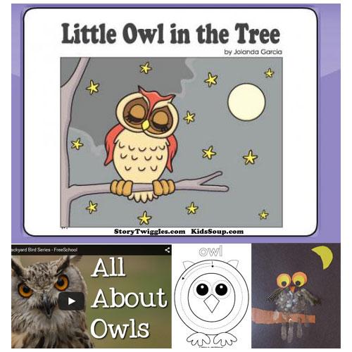 Little Owl in the Tree - Online Book Activities KidsSoup