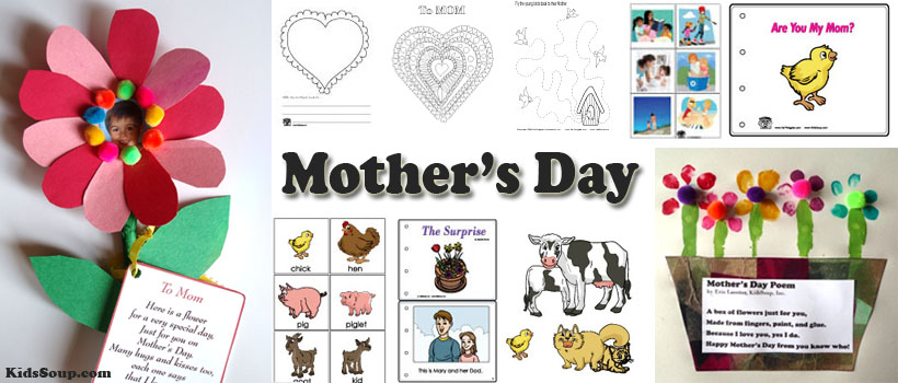 Preschool Mother\u0027s Day Crafts, Activities, Games, and Rhymes KidsSoup - mother sday cards
