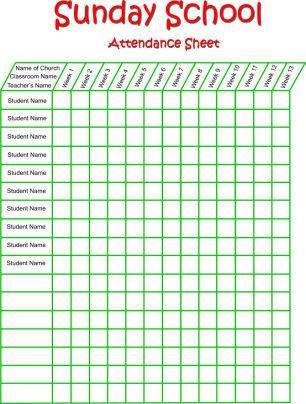 sunday school attendance sheet template - Onwebioinnovate