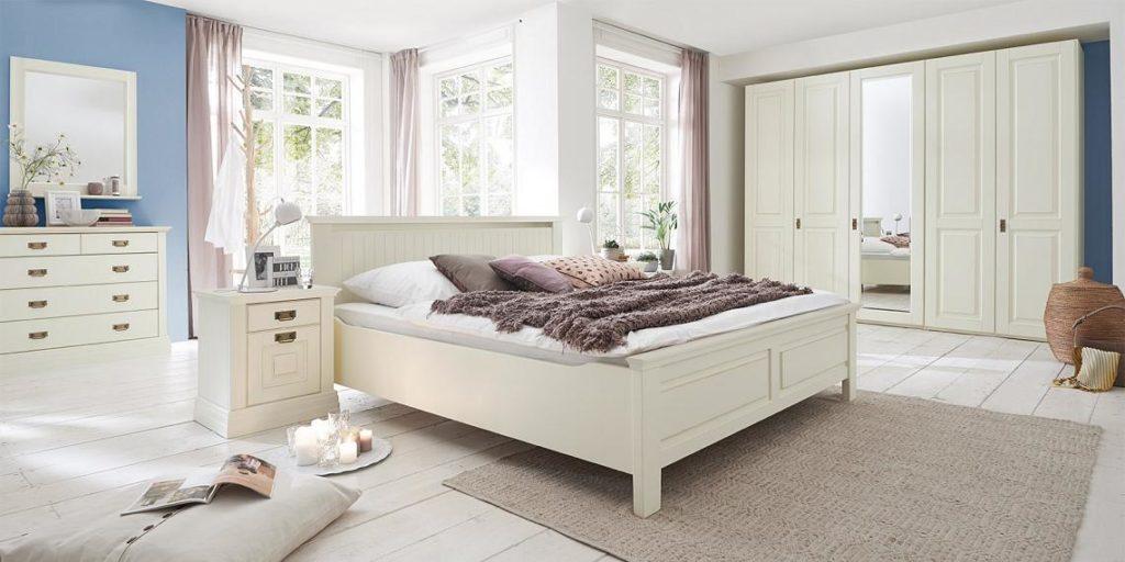 Schlafzimmer Möbel Kiefer Massivholz  verschiedene Oberflächen - schlafzimmer creme wei