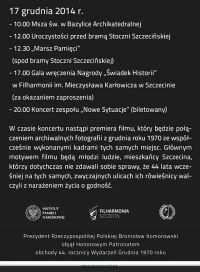 Szczecin, obchody rocznicy Grudzień '70, wydarzenia grudniowe, 17.12.2014, w Szczecinie